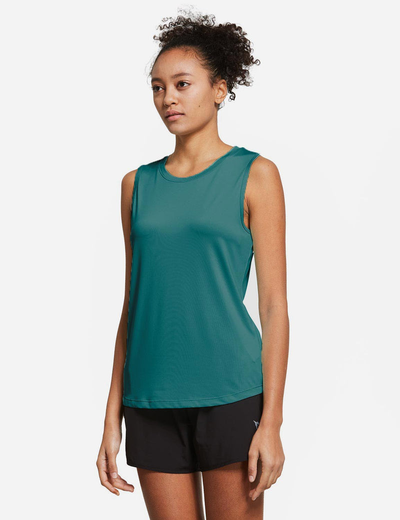 Baleaf Womens Polyester Crewneck Tagless Loose Fit Tank Top Teal Side