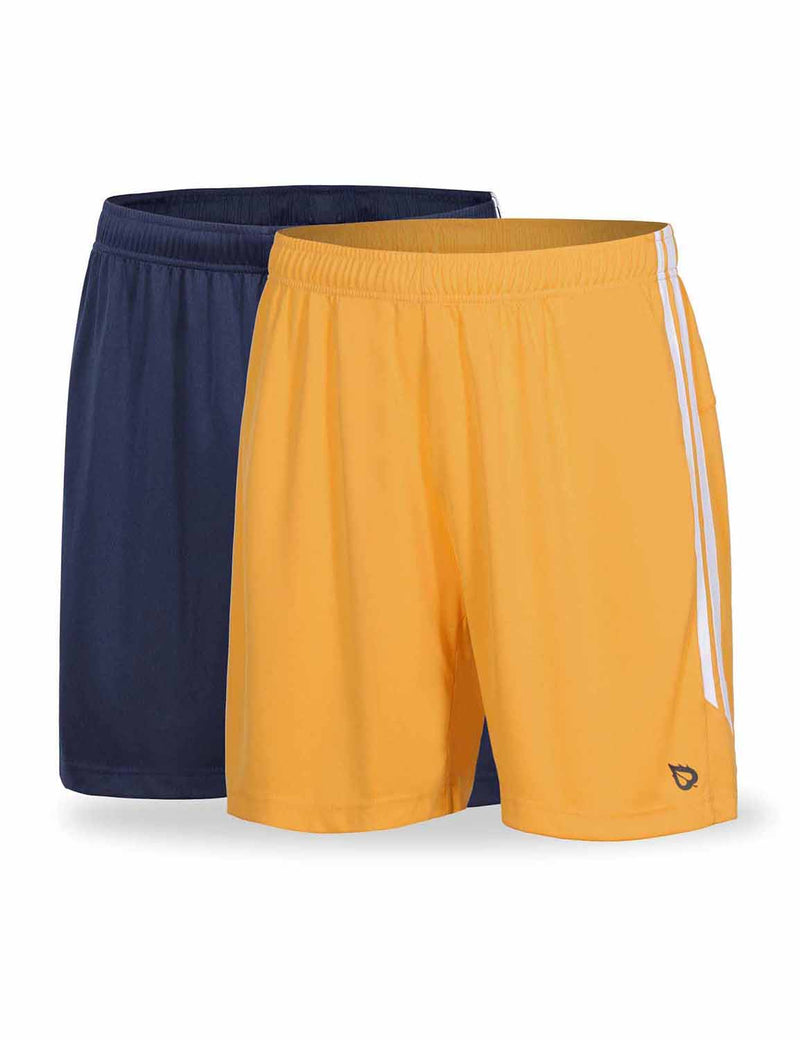 Baleaf Mens (2 Pack) UPF50+  Polyester Outdoor Sports & Workout Shorts Navy Yellow front