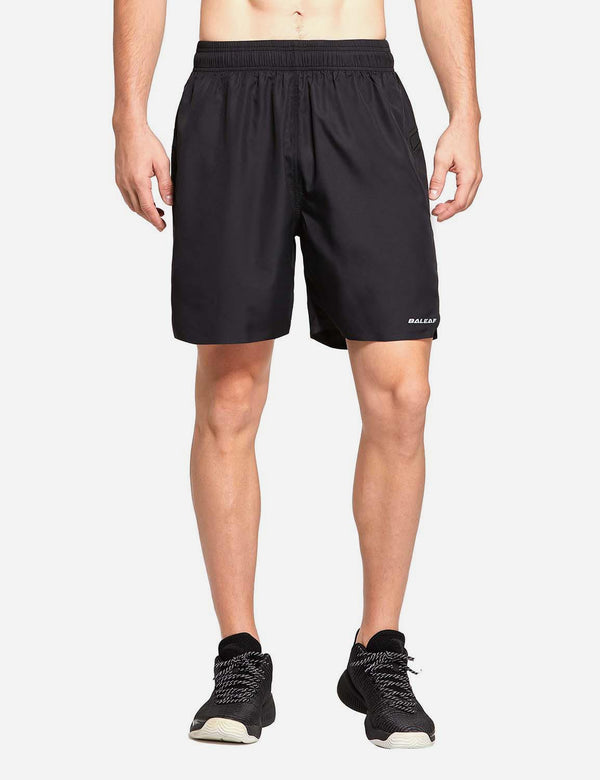 "Baleaf mens 7"" 2 in 1 Quick Dry Running Workout Shorts Black front"