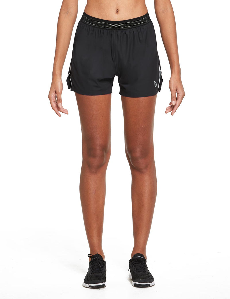 "Baleaf Womens Evo 3"" Seamless Side Split Pocketed Workout Shorts Black Front"