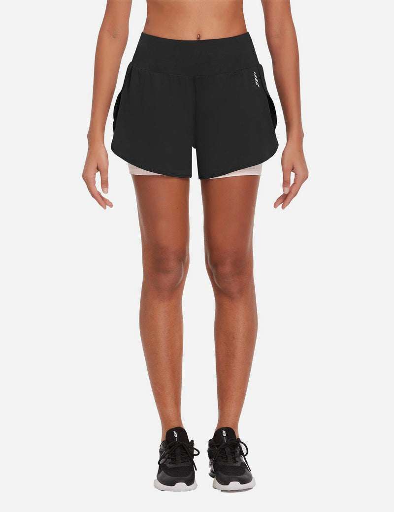 Baleaf Womens 2-in-1 High Rise Split-Leg Pocketed Running Shorts Black Front