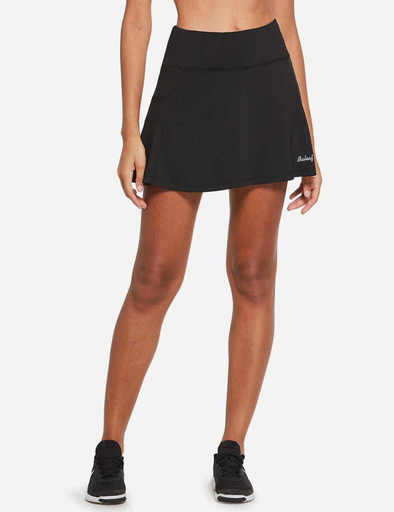 Baleaf Womens High Rise Pleated 2-in-1 Pocketed Gym Skort Black Front