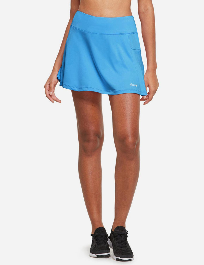 Baleaf Womens High Rise Pleated 2-in-1 Pocketed Gym Skort North Carolina Blue Front