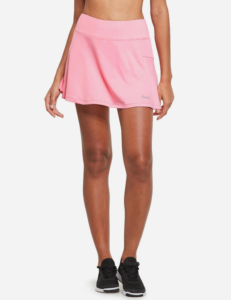 Baleaf Womens High Rise Pleated 2-in-1 Pocketed Gym Skort Pink Front