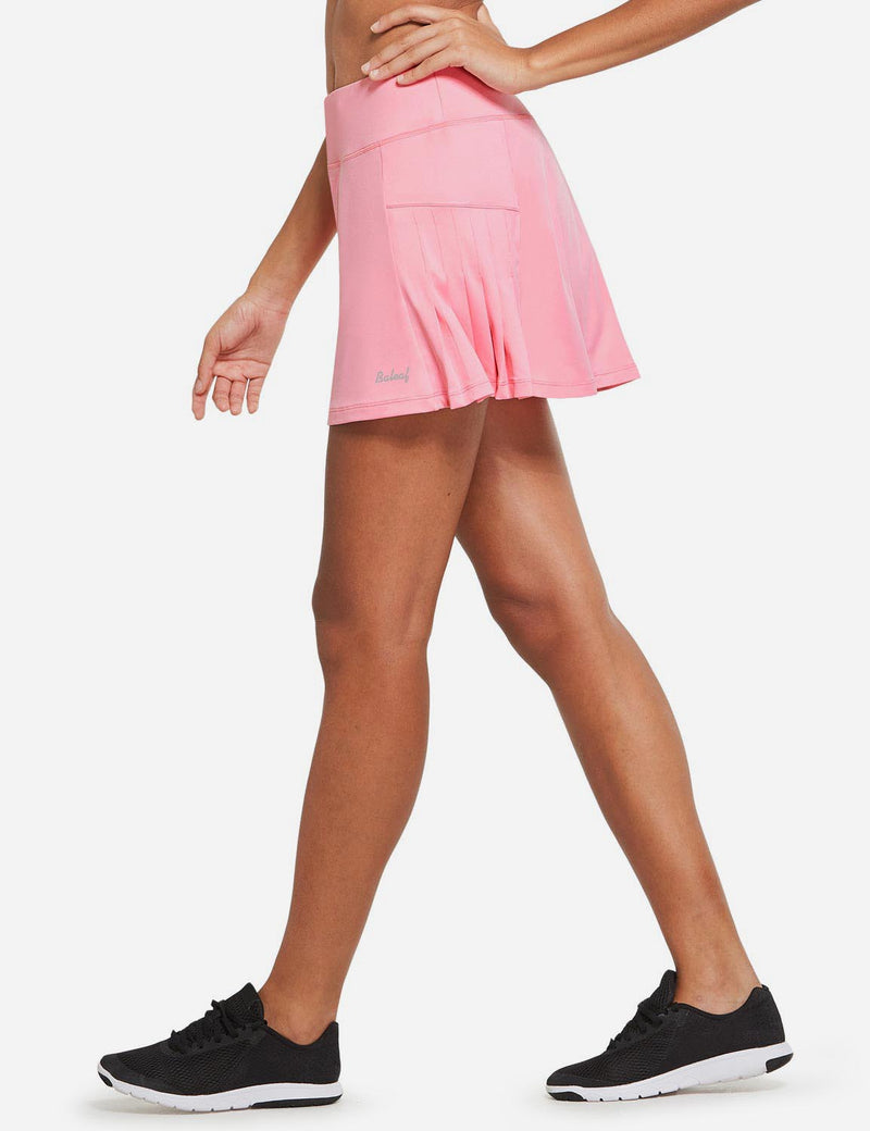 Baleaf Womens High Rise Pleated 2-in-1 Pocketed Gym Skort Pink Side