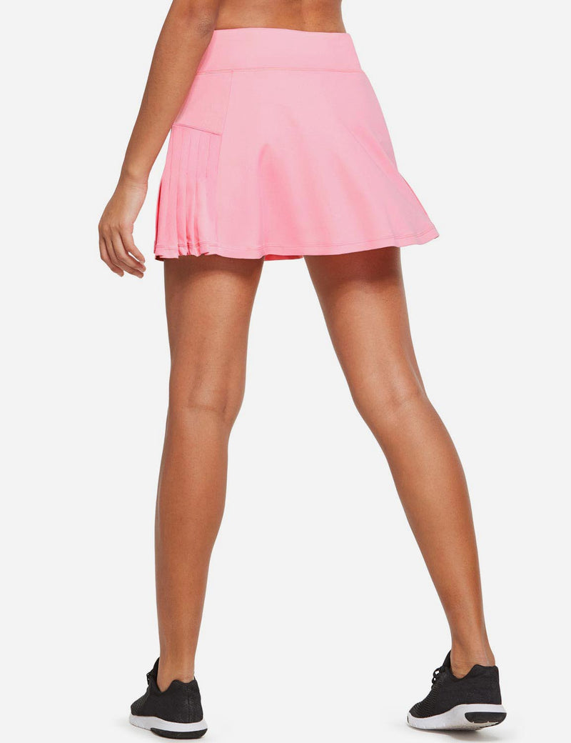 Baleaf Womens High Rise Pleated 2-in-1 Pocketed Gym Skort Pink Back