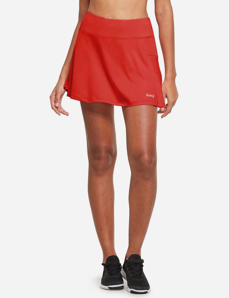 Baleaf Womens High Rise Pleated 2-in-1 Pocketed Gym Skort Red Front