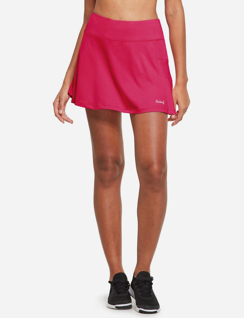 Baleaf Womens High Rise Pleated 2-in-1 Pocketed Gym Skort Rose Red Front