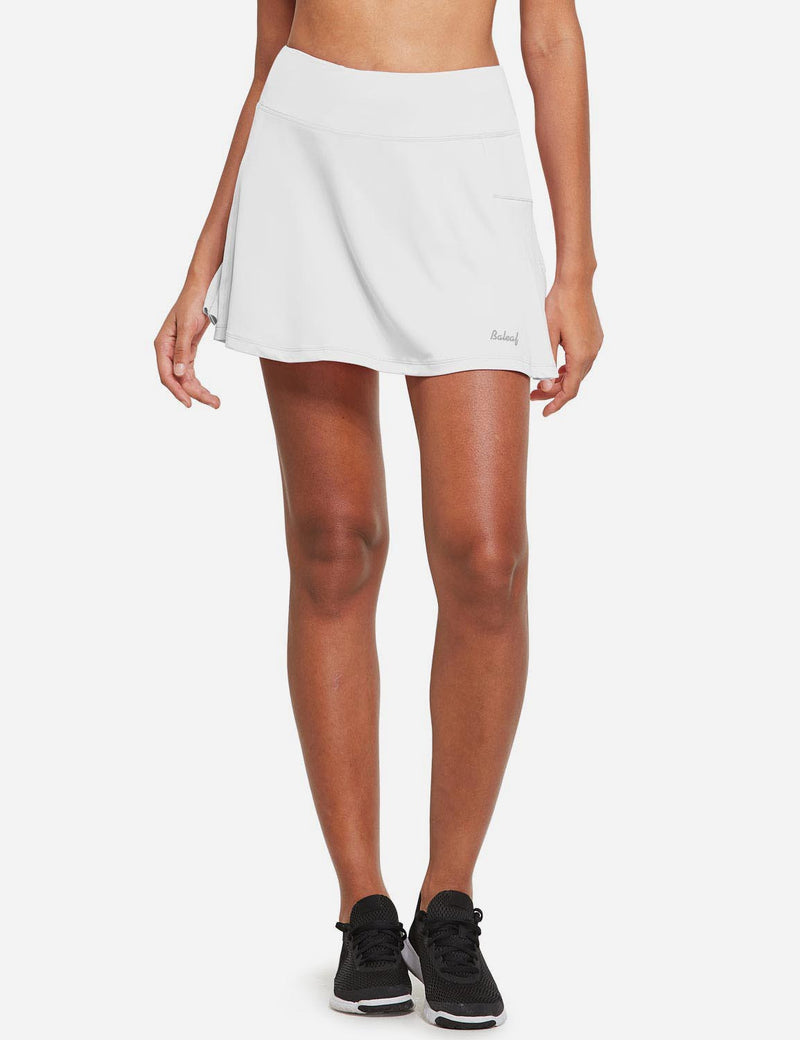 Baleaf Womens High Rise Pleated 2-in-1 Pocketed Gym Skort White Front