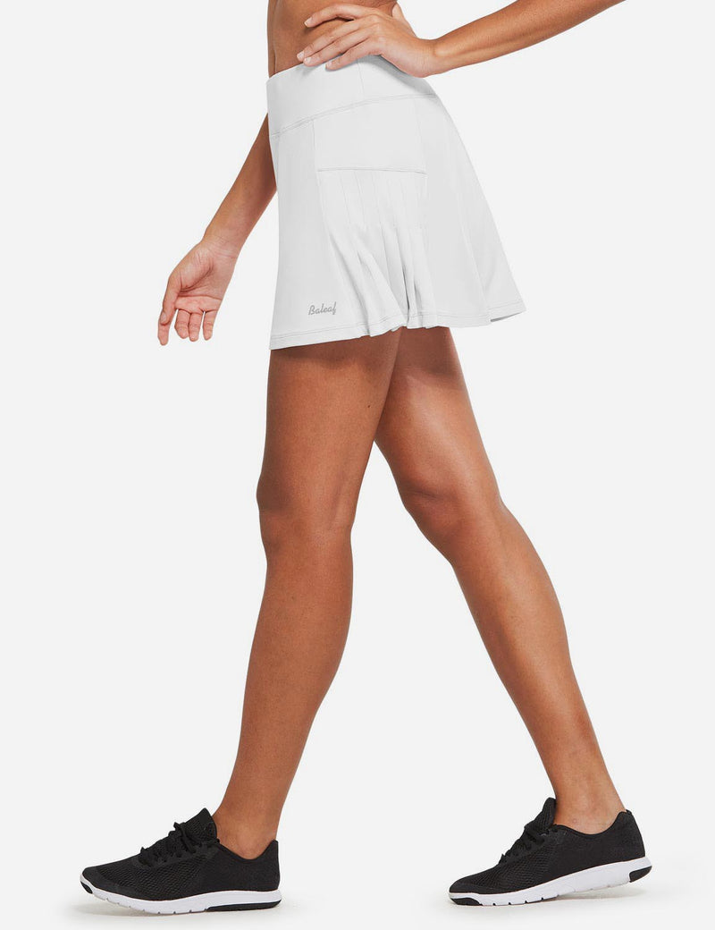 Baleaf Womens High Rise Pleated 2-in-1 Pocketed Gym Skort White Side