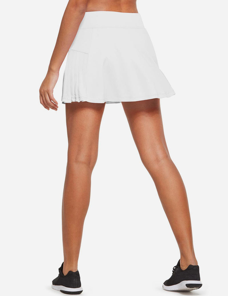 Baleaf Womens High Rise Pleated 2-in-1 Pocketed Gym Skort White Back