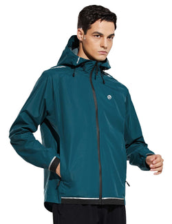 Baleaf Mens Water Resistant Packable Scuba Neck Hooded Windbreaker Teal Side