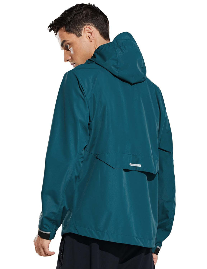 Baleaf Mens Water Resistant Packable Scuba Neck Hooded Windbreaker Teal Back