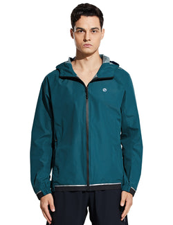 Baleaf Mens Water Resistant Packable Scuba Neck Hooded Windbreaker Teal Front
