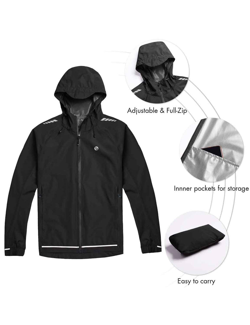 Baleaf mens Water Resistant Packable Scuba Neck Hooded Windbreaker Black Details