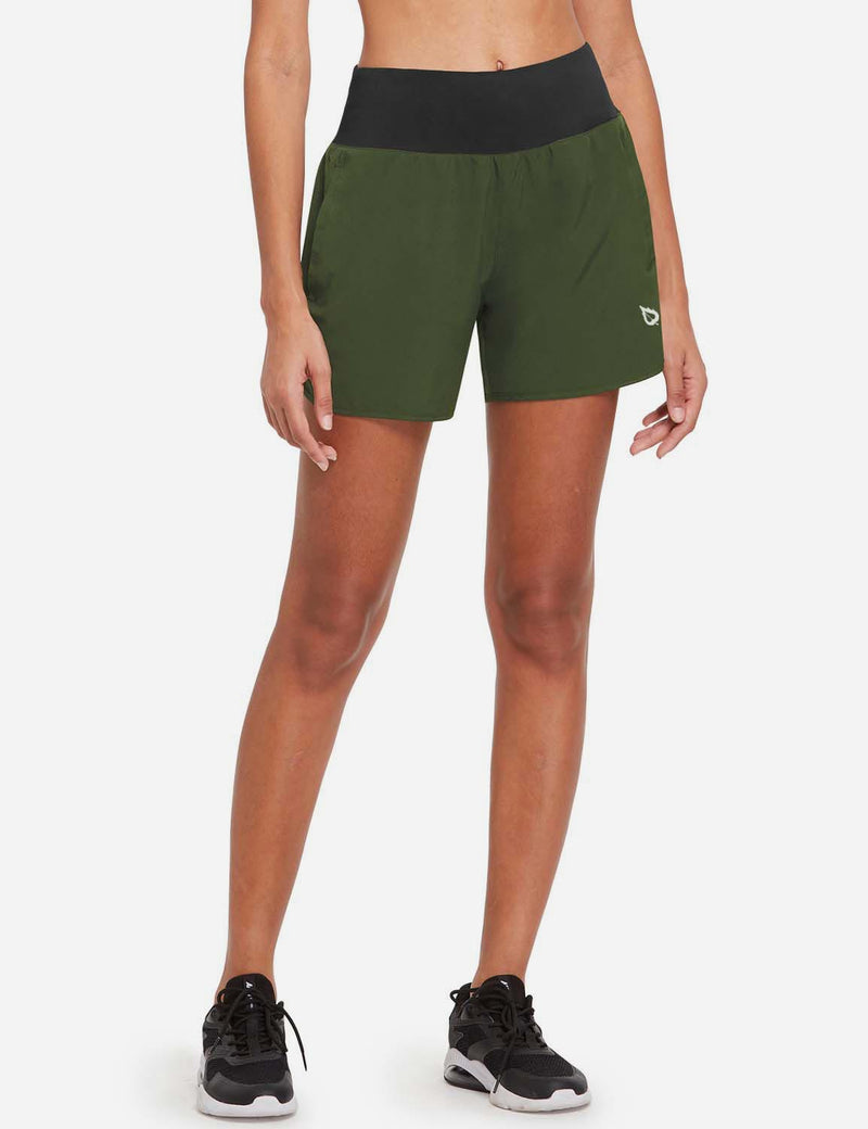 "Baleaf Womens 5"" Lightweight High Rise Split-leg Pocketed Running Shorts Army Green Front"