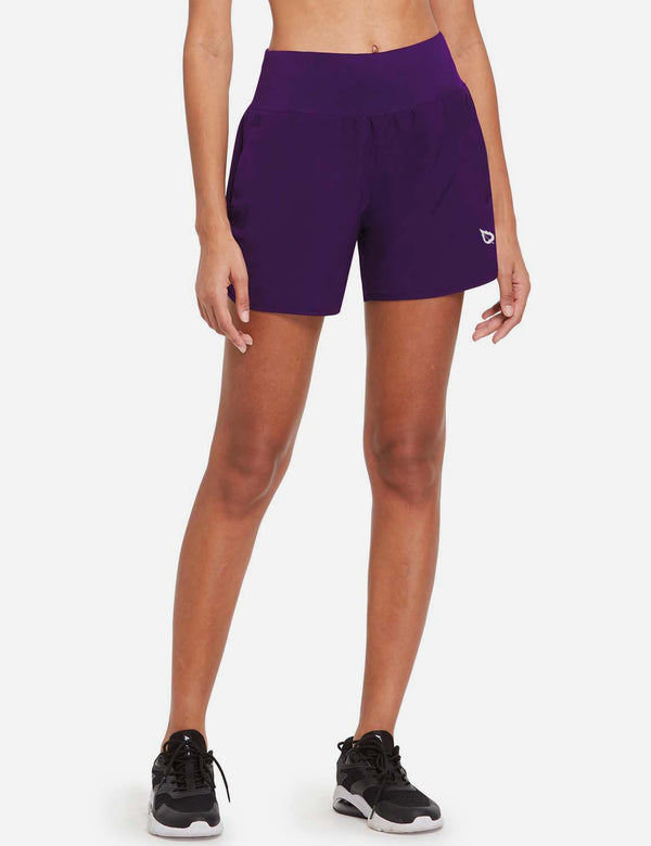 "Baleaf Womens 5"" Lightweight High Rise Split-leg Pocketed Running Shorts Purple Front"