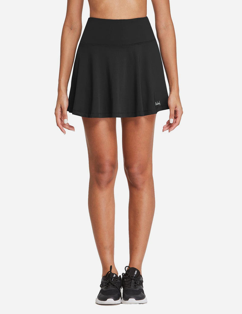 Baleaf Womens High Rise 2-in-1 Pleated Breathable Pocketed Gym Skort Black Front