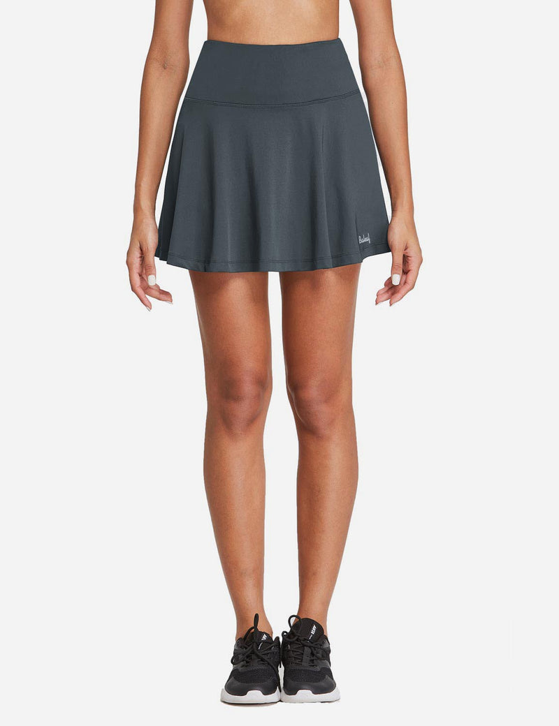 Baleaf Womens High Rise 2-in-1 Pleated Breathable Pocketed Gym Skort Gray Front