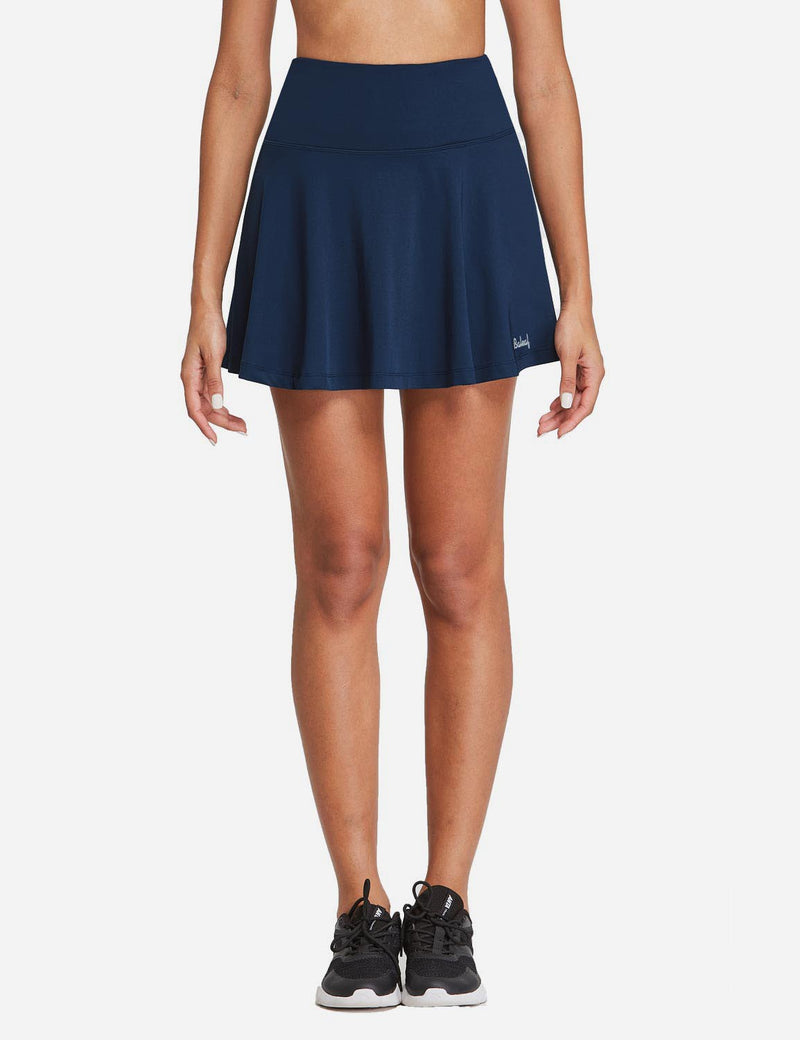 Baleaf Womens High Rise 2-in-1 Pleated Breathable Pocketed Gym Skort Navy Front