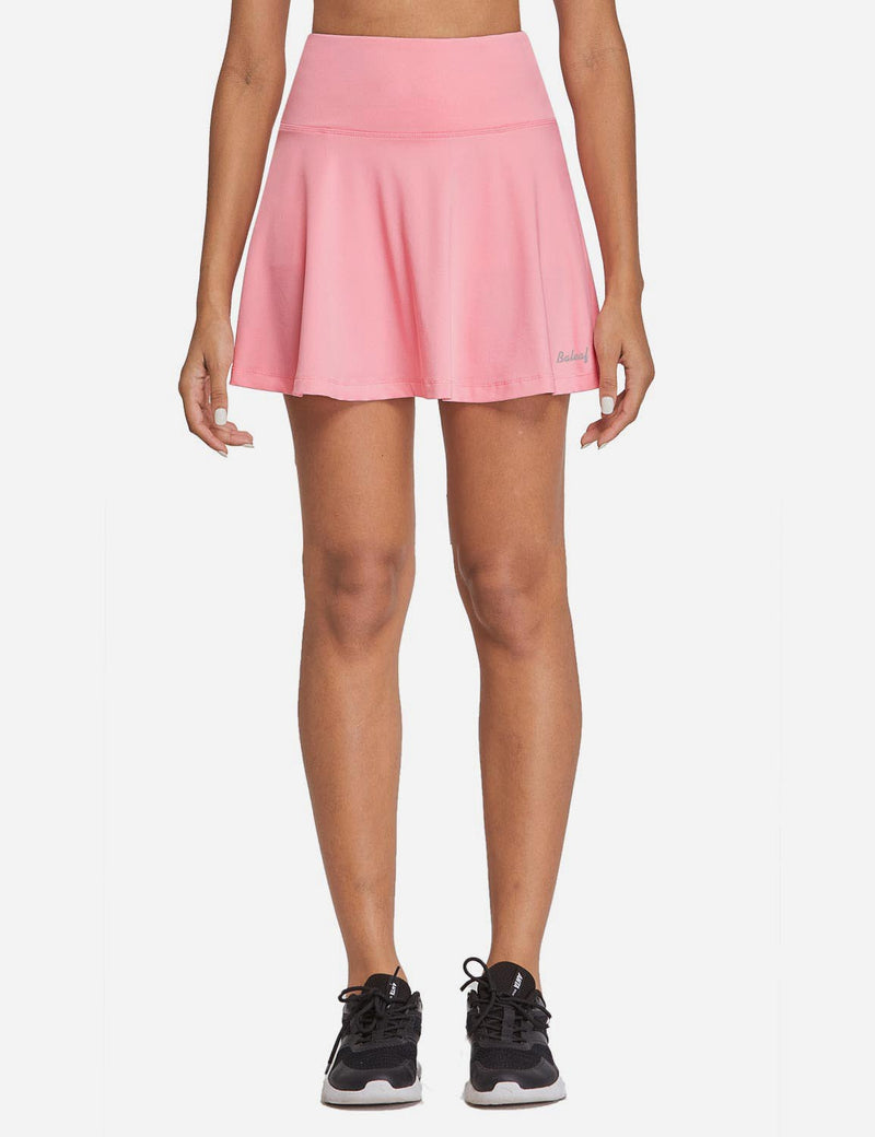 Baleaf Womens High Rise 2-in-1 Pleated Breathable Pocketed Gym Skort Light Pink Front