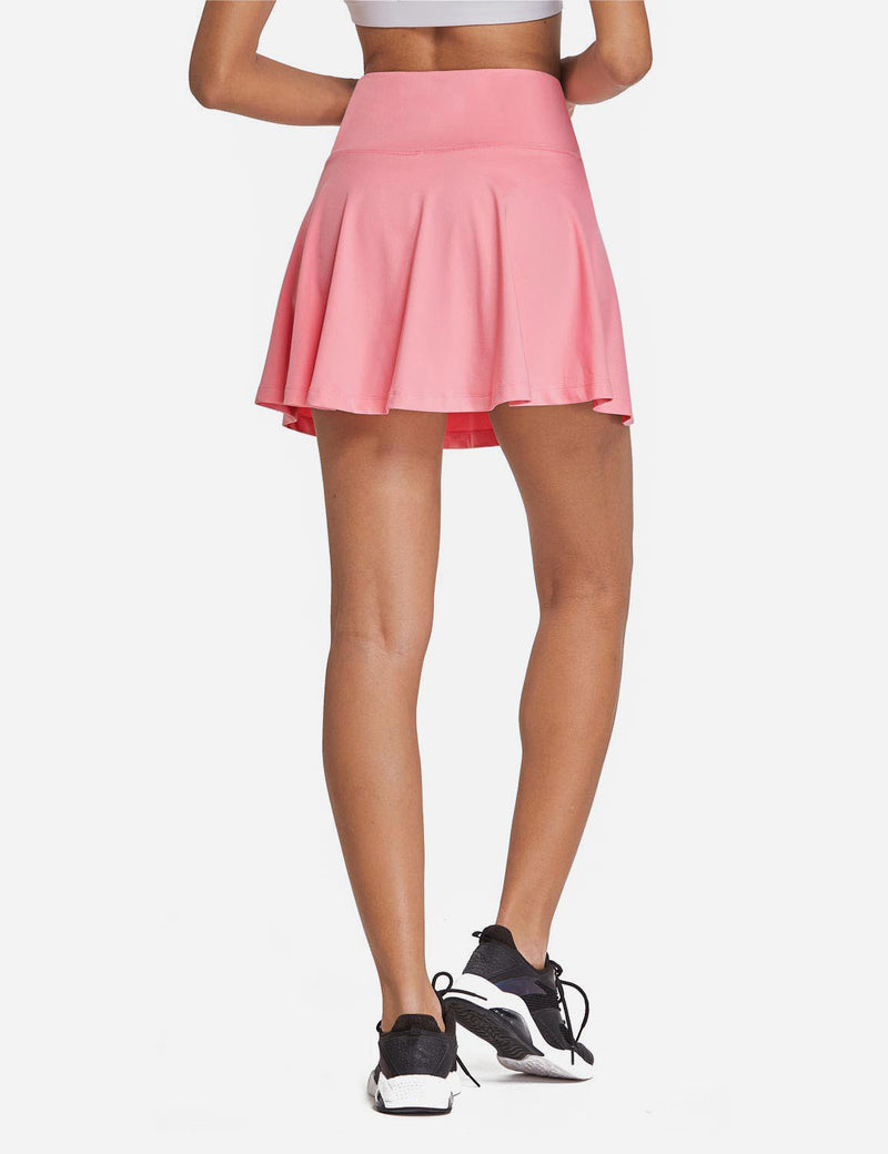 Baleaf Womens High Rise 2-in-1 Pleated Breathable Pocketed Gym Skort Light Pink Back