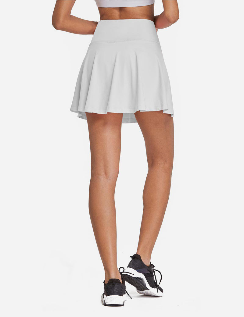 Baleaf Womens High Rise 2-in-1 Pleated Breathable Pocketed Gym Skort White Back