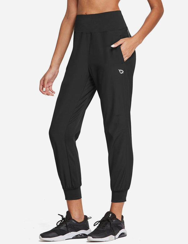 "Baleaf Womens 26"" High Rise Loose Fit Tapered Legs Pocketed Joggers Black Side"