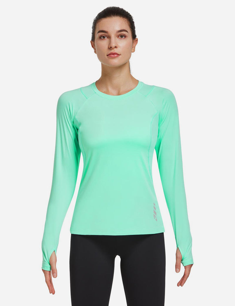 Baleaf Women Crew Neck Raglan Quick Dry Long Sleeved Shirt w Thumbholes Mint Green Front