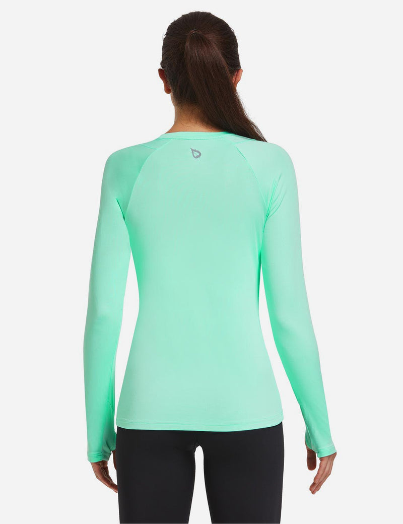 Baleaf Women Crew Neck Raglan Quick Dry Long Sleeved Shirt w Thumbholes Mint Green Back