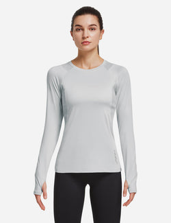 Baleaf Women Crew Neck Raglan Quick Dry Long Sleeved Shirt w Thumbholes Silver Front