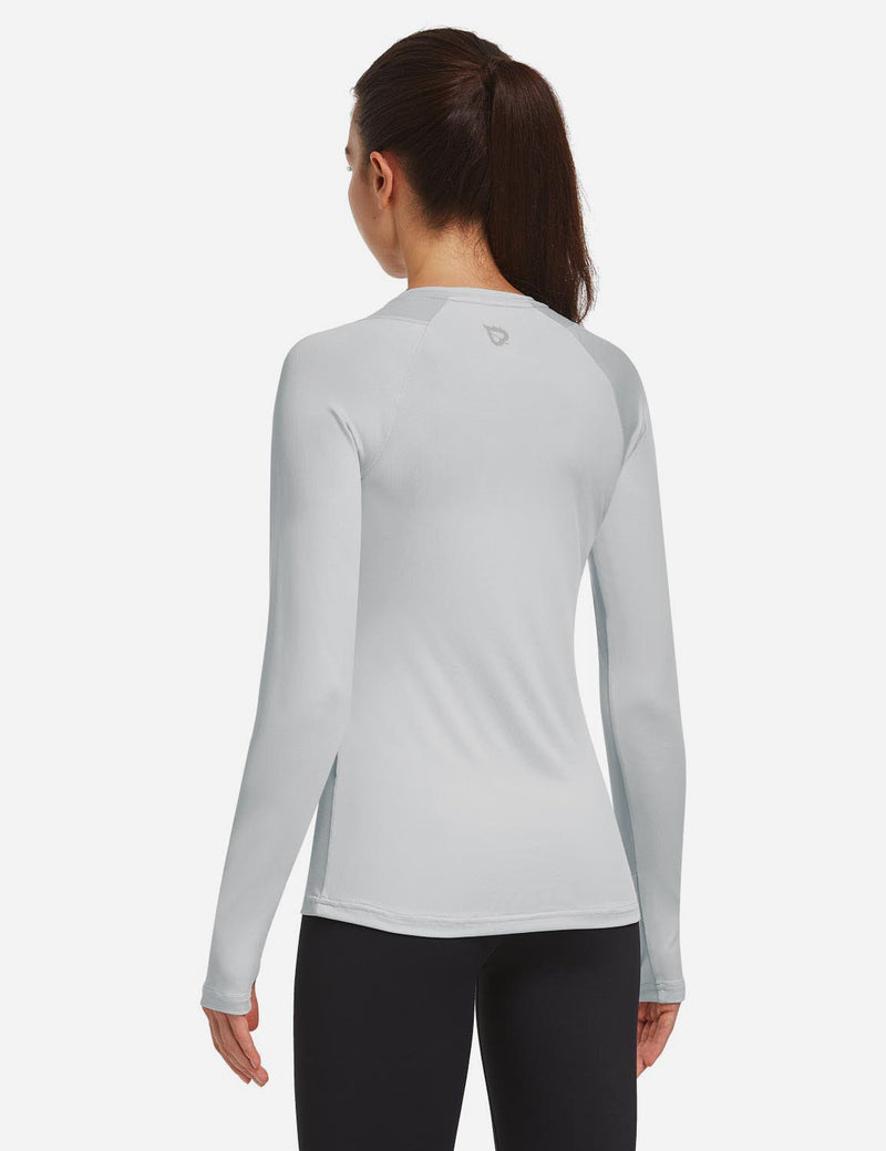 Baleaf Women Crew Neck Raglan Quick Dry Long Sleeved Shirt w Thumbholes Silver Back
