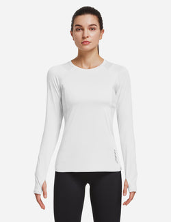Baleaf Women Crew Neck Raglan Quick Dry Long Sleeved Shirt w Thumbholes White Front