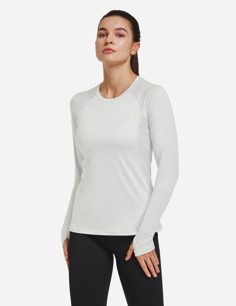 Baleaf Women Crew Neck Raglan Quick Dry Long Sleeved Shirt w Thumbholes White Side