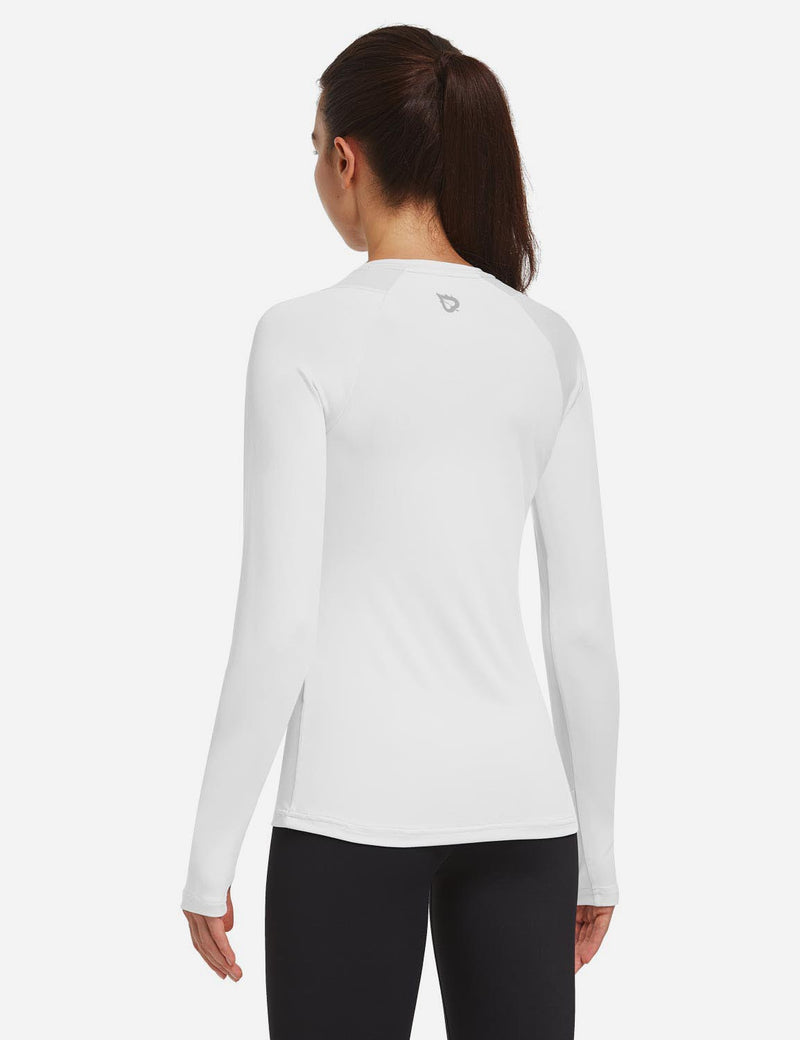 Baleaf Women Crew Neck Raglan Quick Dry Long Sleeved Shirt w Thumbholes White Back