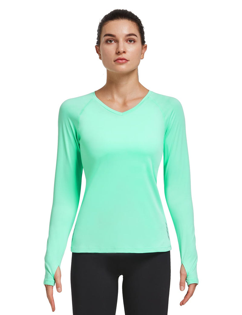 Baleaf Women V-Neck Raglan Quick Dry Long Sleeved Shirt w Thumbholes Mint Green Front