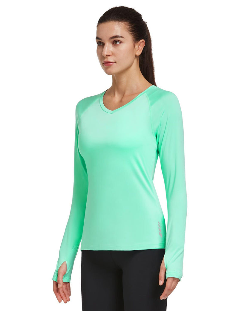 Baleaf Women V-Neck Raglan Quick Dry Long Sleeved Shirt w Thumbholes Mint Green Side