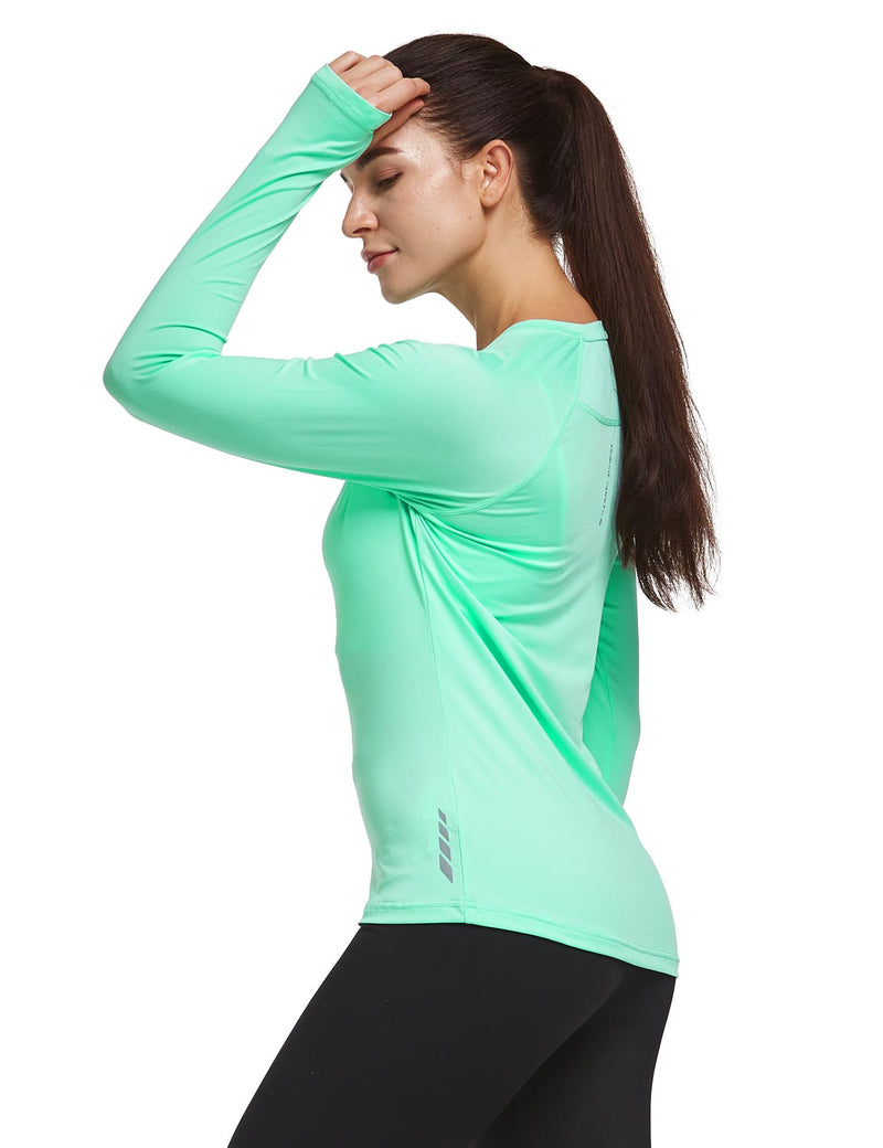 Baleaf Women V-Neck Raglan Quick Dry Long Sleeved Shirt w Thumbholes Mint Green Back