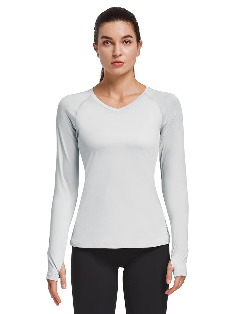 Baleaf Women V-Neck Raglan Quick Dry Long Sleeved Shirt w Thumbholes Silver Front