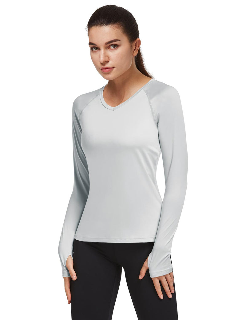 Baleaf Women V-Neck Raglan Quick Dry Long Sleeved Shirt w Thumbholes Silver Side