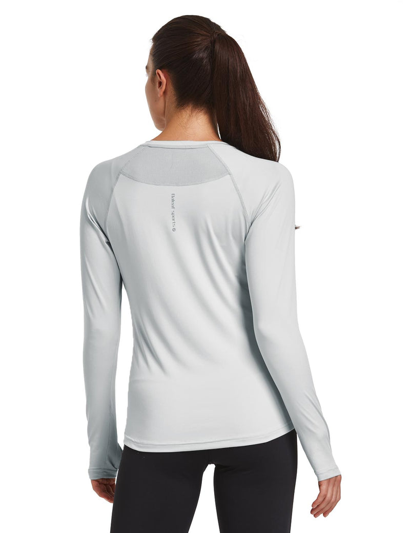 Baleaf Women V-Neck Raglan Quick Dry Long Sleeved Shirt w Thumbholes Silver Back