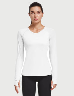 V-Neck Raglan Quick Dry Long Sleeved Shirt w Thumbholes
