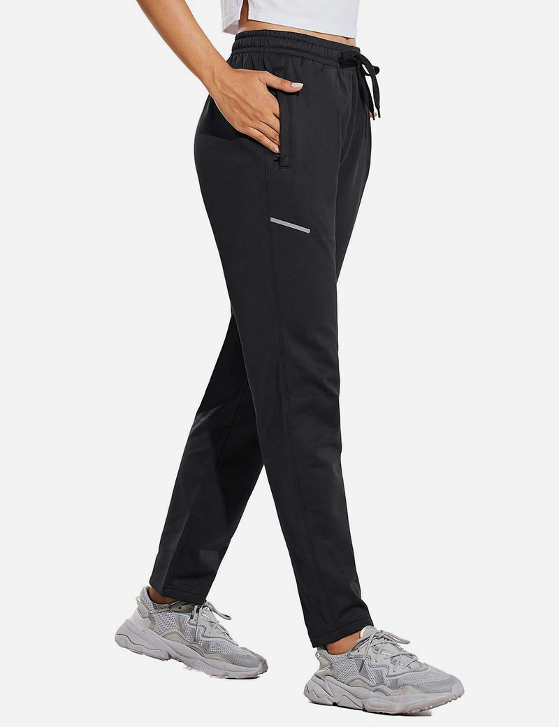 Baleaf Womens Fleece Lined Cozy Tapered Loose Fit Pocketed Joggers Black Side