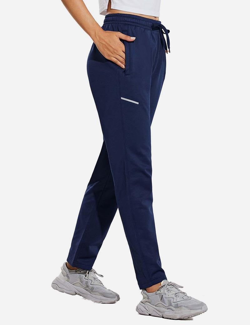 Baleaf Womens Fleece Lined Cozy Tapered Loose Fit Pocketed Joggers Navy Side