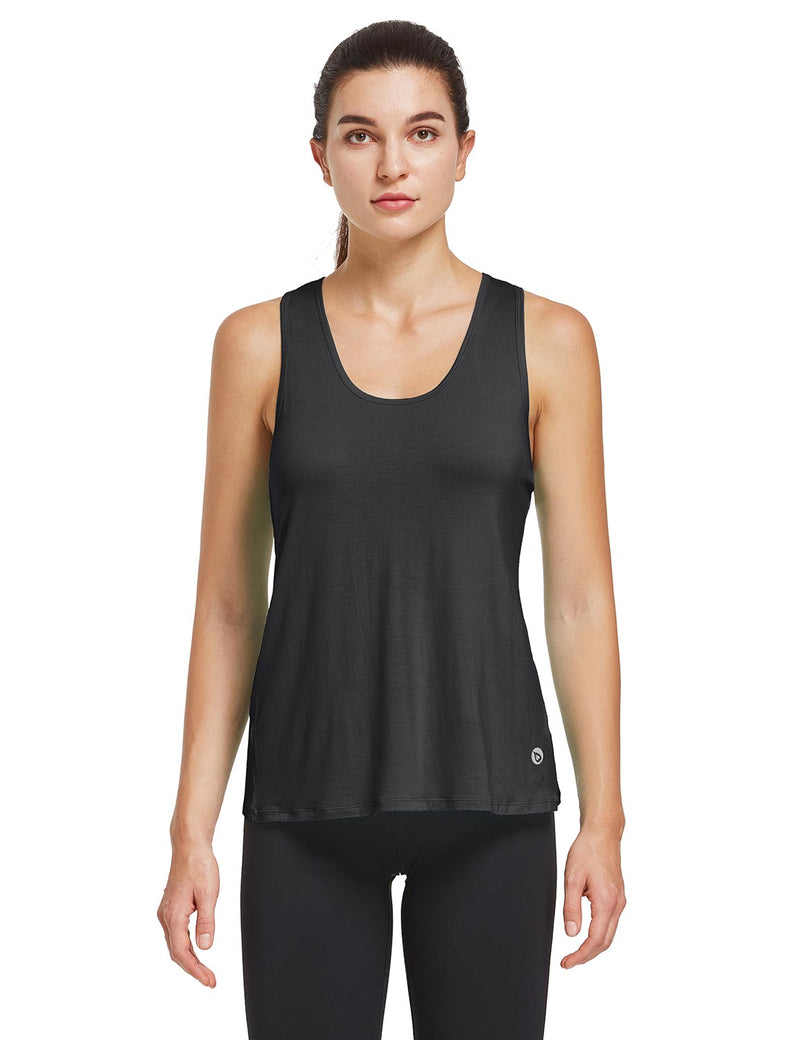 Baleaf Womens Quick Dry Split Racer Back Workout Tank Top Black Front