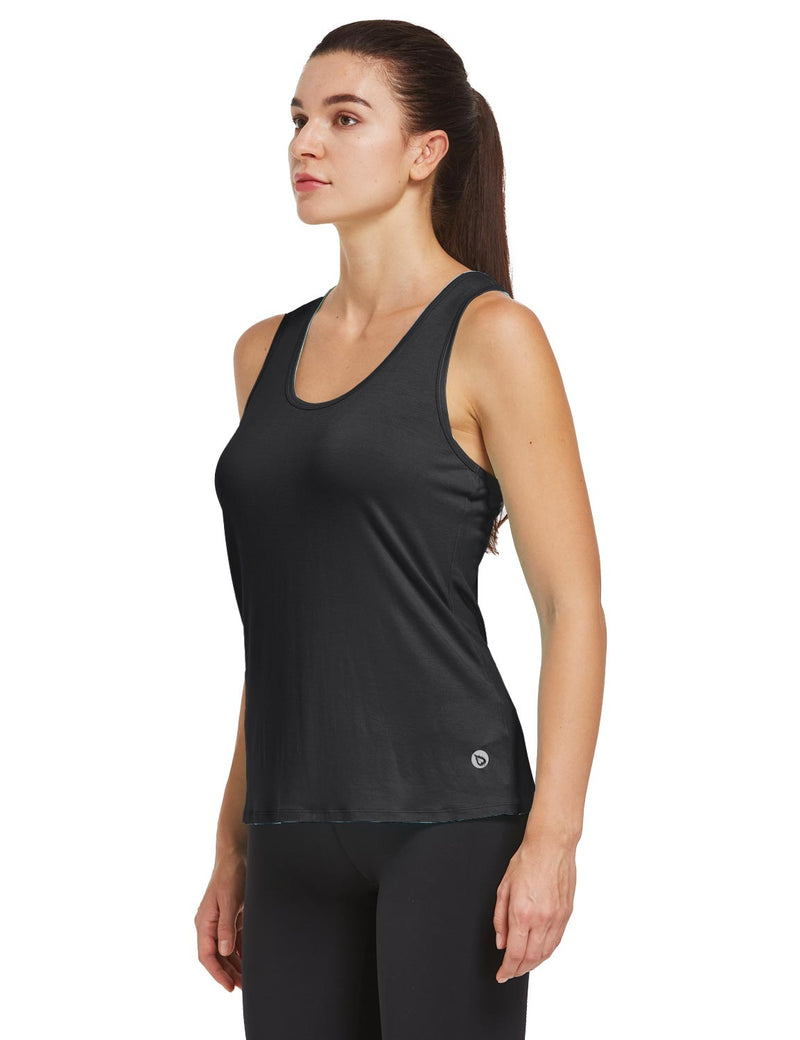 Baleaf Womens Quick Dry Split Racer Back Workout Tank Top Black Side