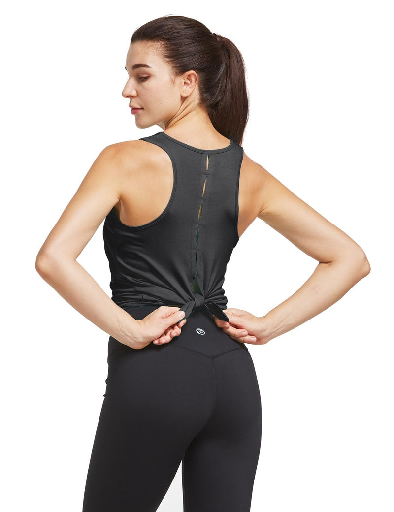Baleaf Womens Quick Dry Split Racer Back Workout Tank Top Black Back