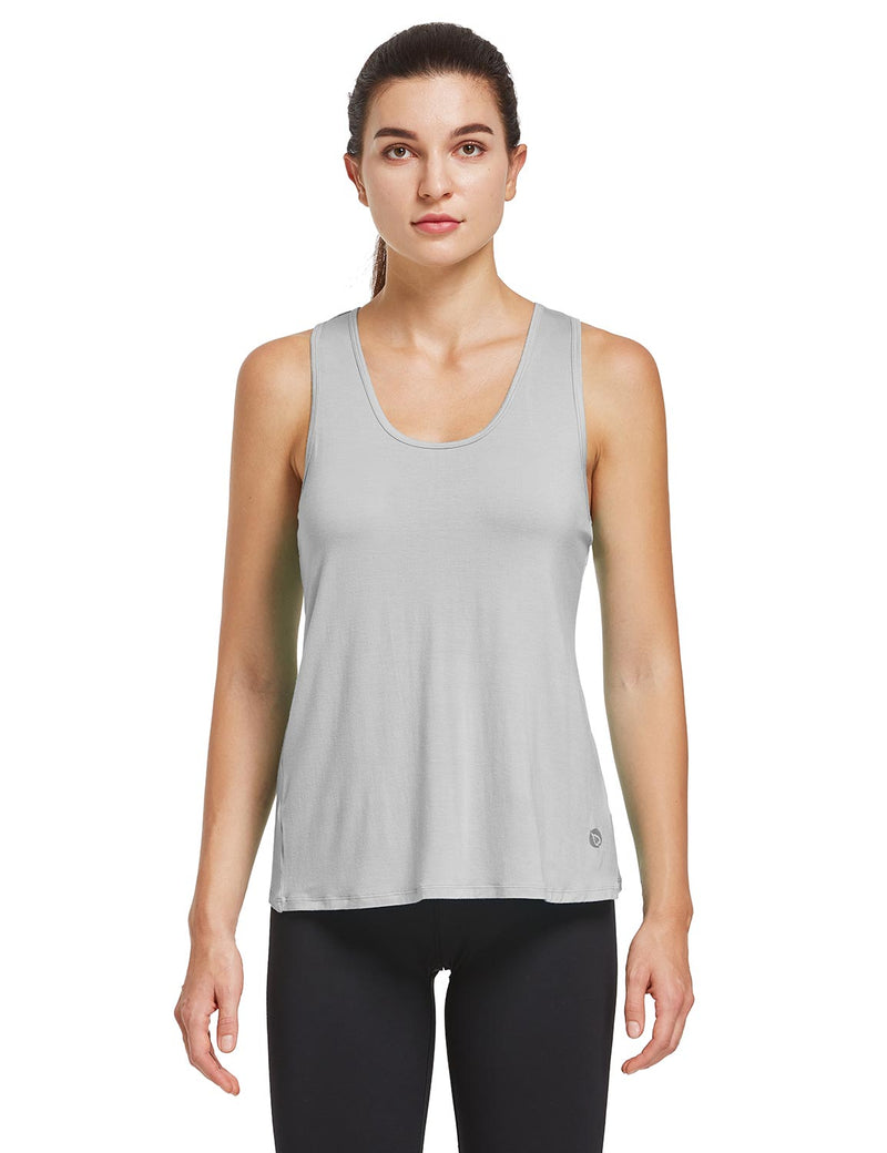 Baleaf Womens Quick Dry Split Racer Back Workout Tank Top Gray Front