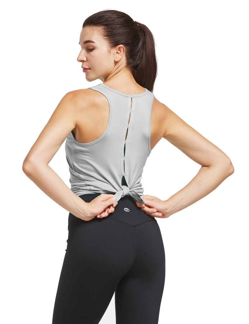 Baleaf Womens Quick Dry Split Racer Back Workout Tank Top Gray Back