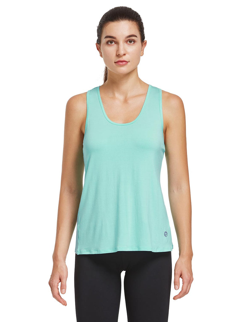 Baleaf Womens Quick Dry Split Racer Back Workout Tank Top Mint Green Front